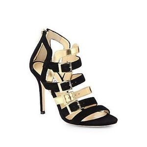 JIMMY CHOO Bronx Suede Mirror Leather Sandals